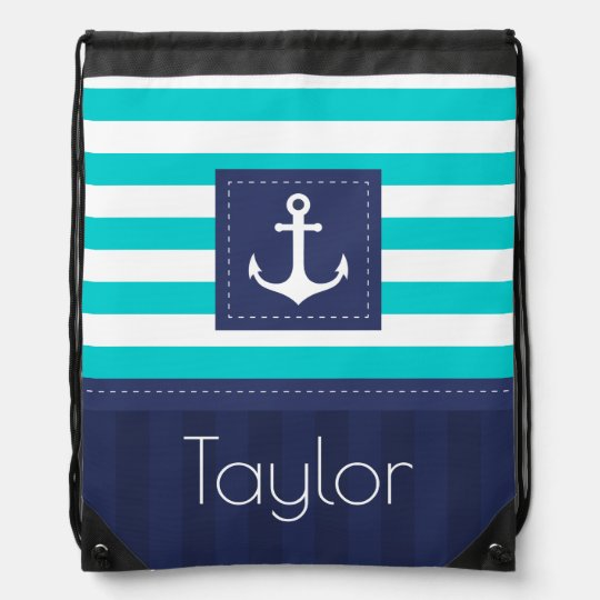 Nautical Turquoise Navy Blue Design Personalized Cinch Bag