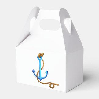 Nautical Turquoise Ship Anchor Wedding Party Favor Box