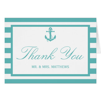 Nautical Turquoise Stripe Anchor Wedding Card