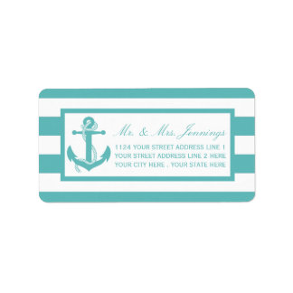 Nautical Turquoise Stripe Anchor Wedding Labels