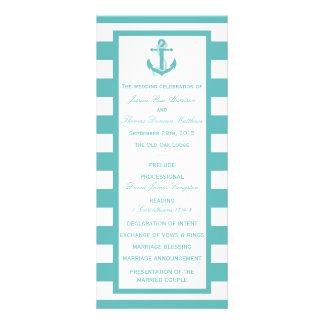 Nautical Turquoise Stripe Anchor Wedding Program Custom Rack Card