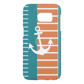 Nautical Turquoise White Orange Stripe Design Samsung Galaxy S7 Case