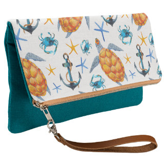Nautical Turtles Teal Fold-Over Clutch