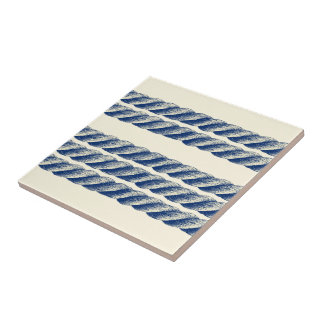 Nautical Twisted Sisal Rope Stripes Pattern Tile