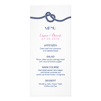 Nautical Tying the Knot Elegant Wedding Menu