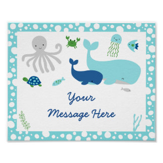 Nautical Under The Sea Baby Shower Welcome Poster
