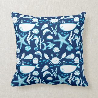 Nautical Under the Sea Cartoon Cute Blue Throw Pillow