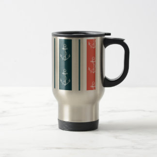 Nautical Vintage Anchor on Stripes Pattern Travel Mug