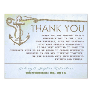 nautical vintage anchor wedding thank you cards