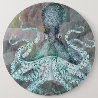 Nautical Vintage Octopus 6 Inch Round Button
