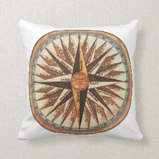 Nautical Vintage Ship's Compass Navigator Sailing Throw Pillow