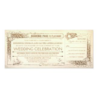 Nautical Vintage Wedding Invitation Boarding Pass