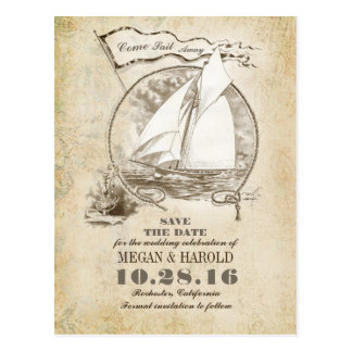 Nautical vintage yacht save the date postcards