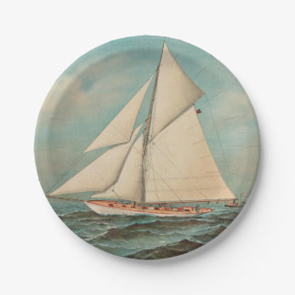 Nautical Vintage Yachts Racing #1 7 Inch Paper Plate