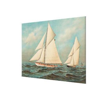 Nautical Vintage Yachts Racing #1 Canvas Print