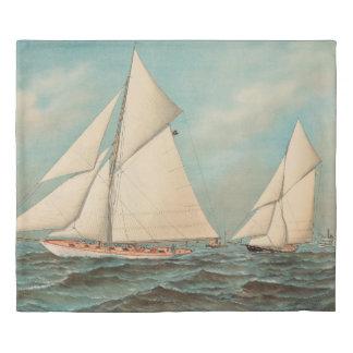 Nautical Vintage Yachts Racing #1 Duvet Cover