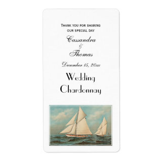 Nautical Vintage Yachts Racing #1 Shipping Label