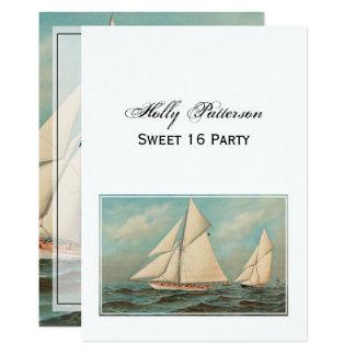 Nautical Vintage Yachts Racing #1 Sweet 16 Card