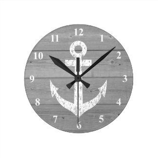 Nautical wall clock | boat anchor and wood panels