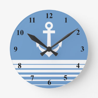 Nautical wall clock with ship anchor