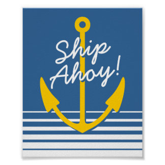 Nautical wall poster decor | Yellow boat anchor
