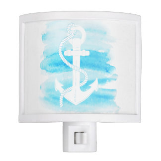 Nautical - Watercolor Anchor (1) Nite Light
