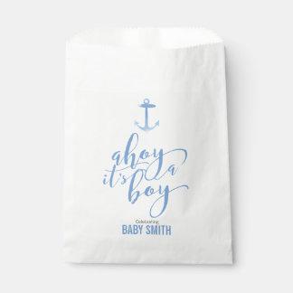 Nautical Watercolor Anchor Baby Shower Boy Blue Favour Bag