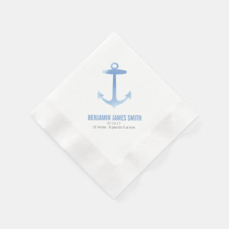 Nautical Watercolor Anchor Baby Shower Sip and See Paper Napkins