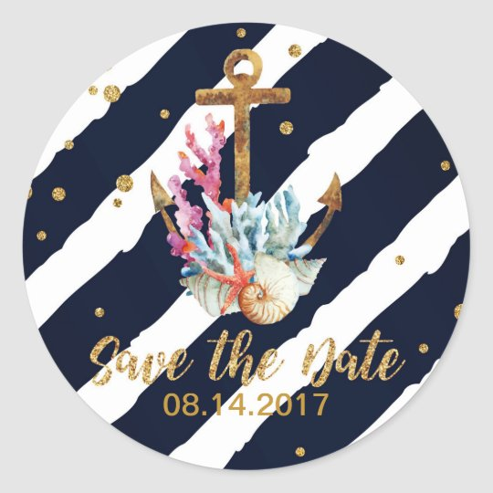 Nautical Watercolor Anchor Seashell Save the Date Classic Round Sticker