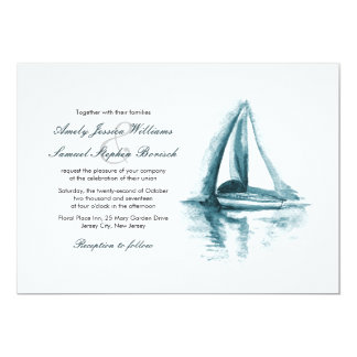 Nautical Watercolor Boat Wedding Invitation