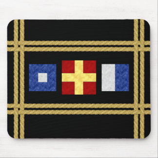 Nautical Watercolor Maritime Signal Flag Monogram Mouse Pad