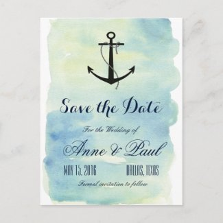 Nautical watercolor Save the Date Announcement Postcard