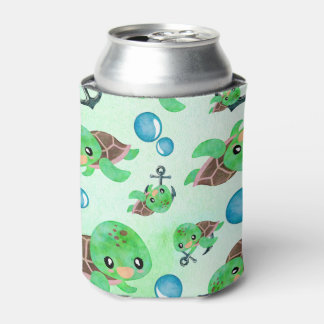 Nautical Watercolor Sea Turtle Anchors & Bubbles Can Cooler