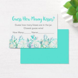 Nautical Watercolor Seashell Guess How Many Game Business Card