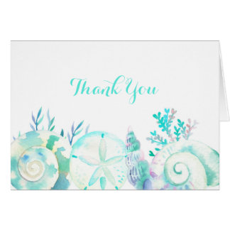 Nautical Watercolor Seashell Thank You Card