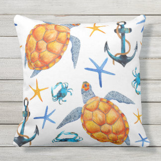 Nautical Watercolor Turtle Outdoor Pillow