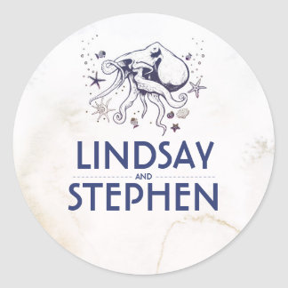 Nautical Watercolors - Octopus Beach Wedding Classic Round Sticker