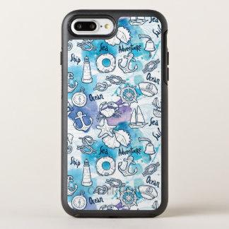 Nautical Watercolors Pattern OtterBox Symmetry iPhone 7 Plus Case