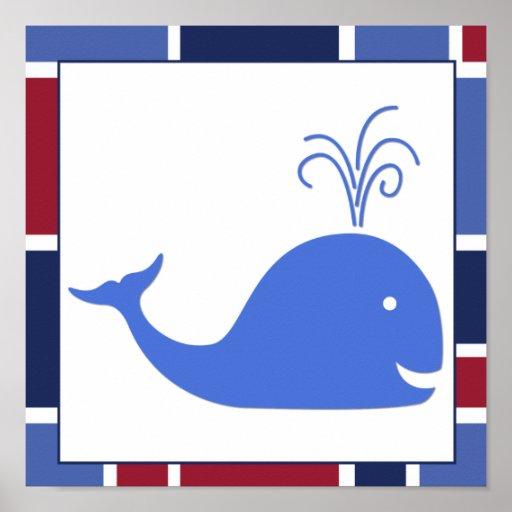 Nautical Wave Nursery Whale Poster