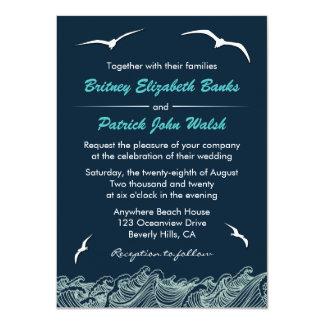 Nautical Waves & Seagulls Navy Wedding Invitations