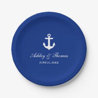 "Nautical Wedding Anchor Blue 7"" Paper Plate"