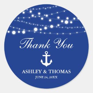 Nautical Wedding Anchor Lights Blue Thank You Classic Round Sticker