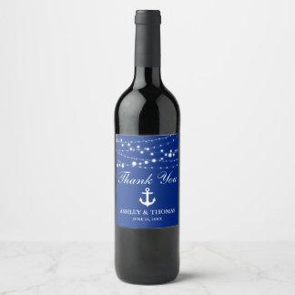 Nautical Wedding Anchor Lights Blue Thank You Wine Label