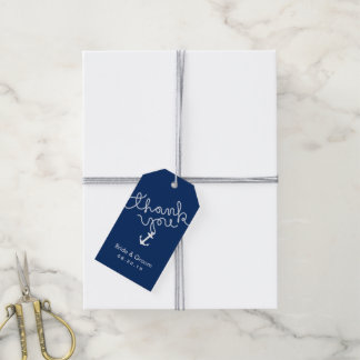Nautical Wedding Anchor & Rope Navy Blue Thank You Gift Tags