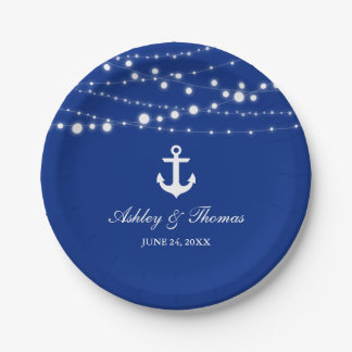 """Nautical Wedding Anchor String Lights Blue 7"""" Paper Plate"""