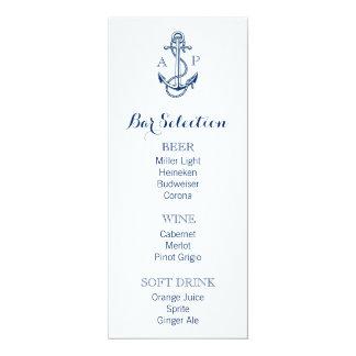 "Nautical Wedding Bar Menu with anchor and initials 4"" X 9.25"" Invitation Card"