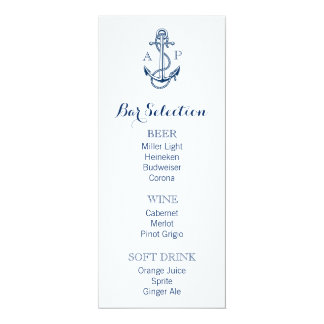Nautical Wedding Bar Menu with anchor and initials Card