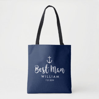 Nautical Wedding Best Man Custom White Anchor Tote Bag