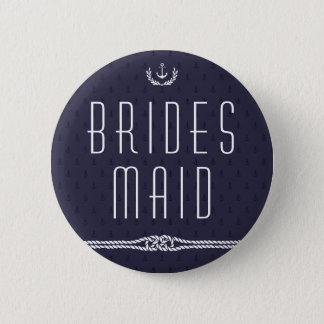 Nautical Wedding Buttons Bridesmaid Blue Anchors