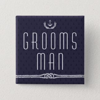 Nautical Wedding Buttons Groomsman Blue Anchors